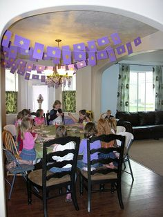 Rapunzel birthday - love the garland above the table