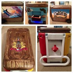 pic stitch, KA Kappa Alpha order crest old south, wood grain stain pattern, bottle opener, greetings from Tennessee cooler side