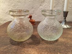 Pair of #HyacinthVases of pressed clear glass from #FunensGlassworks in Denmark in 1924 QuirkySundays #teampinterest