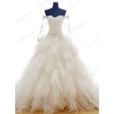 IS046 Princess off shoulder tulle ruffles ball gown wedding dress featuring polyvore women's fashion clothing dresses wedding dresses