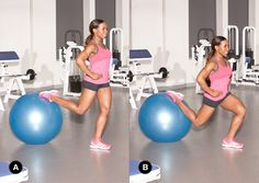 Split Squat with Ball- Stand in front of a stability ball. Extend one leg behind you and place the top of your foot on the ball [A]. (Have a friend hold it steady if you are having trouble getting your balance.) Bend your front knee to lower your body toward the ground [B]. Press through your heel to return to the start, then repeat. Once your set is through, repeat with your other foot on the ball. Do 3 sets of 8-10 reps on each leg.