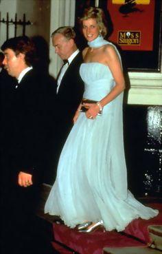 Princess Diana in blue chiffon