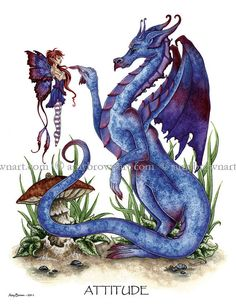 Attitude Dragon and fairy 8.5x11 PRINT by Amy Brown