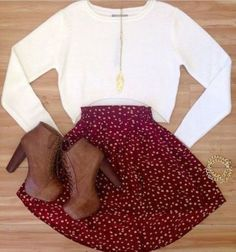 Red skater skirt with polka dots and woody booties