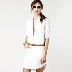 Robe chemise en Oxford blanche Lacoste