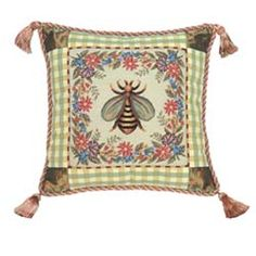 French Country Bumble Bee Pillow