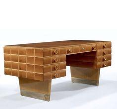 Gio Ponti; Aniegre Wood, Maple, Birch and Bronze Desk, c1938.