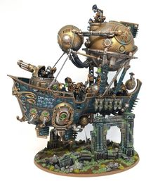"Barak Mhornar Ironclad ""Bertha's Revenge"" all done! Hope you like it! Kharadron Overlords, Eldar 40k, Game Workshop, Warhammer Fantasy, Warhammer 40000, Dark Ages, Green Fabric, Cool Gadgets, Revenge"