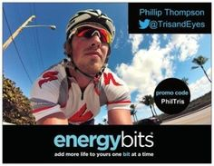 "PHIL THOMPSON: Phil is an optometry school graduate who just opened his own practice, Thompson Eye Center, in Kansas City, MO. When he is not in the office, you can usually find Phil running or cycling around Kansas and Missouri. He is a dedicated triathlete and currently part of the Moxie Nation Team. ""Using ENERGYbits helps me take my training to the next level, but also leaves me fresh and ready to examine patients at the office the rest of the day."""