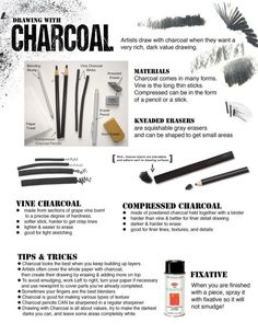 How to Draw with Charcoal handout for beginners or art studio courses. How to Draw with Charcoal handout for beginners or art studio courses. Basic Drawing, Drawing Lessons, Art Lessons, Drawing Tips, Drawing Ideas, Drawing Techniques Pencil, Drawing For Beginners, Art Tutorials, Drawing Tutorials