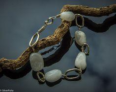 White agate sterling silver bracelet by SilverPuha on Etsy