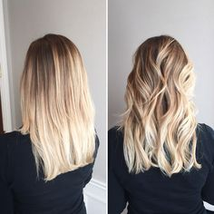 Straight vs curly blonde balayage ombré. Gives this blonde a very beachy look al while keeping it low maintenance.