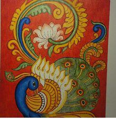 Saree Painting, Kalamkari Painting, Kerala Mural Painting, Peacock Painting, Madhubani Painting, Fabric Painting, Elephant Artwork, Indian Paintings, Modern Paintings