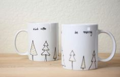 cute mugs with Christmas trees