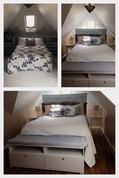 DIY attic bedroom and headboard.