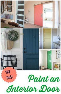 Try this!  Paint your interior door!   Fabulous ideas and gorgeous inspiration shared by Four Generations One Roof