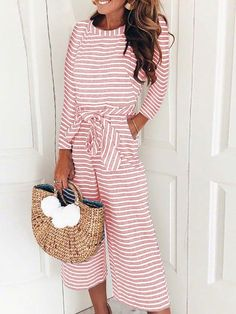 a3f3ad0afc9ff Striped Long Sleeve Tied Waist Pocket Jumpsuits