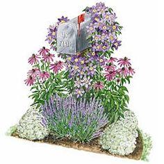 mailbox garden. Color scheme white, purple,  pink. with lavender.