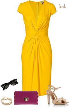 """Saffron Yellow Dress"" by jpschwartz on Polyvore"