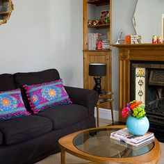 Grey living room with retro accessories | Living room decorating | Style at Home | Housetohome.co.uk