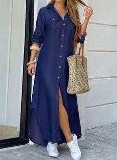 Denim Maxi Dress, Blouse Dress, Maxi Dresses, Wedding Dresses, Jean Dresses, Long Dresses, Fashion Dresses, Button Down Shirt Dress, Long Shirt Dress
