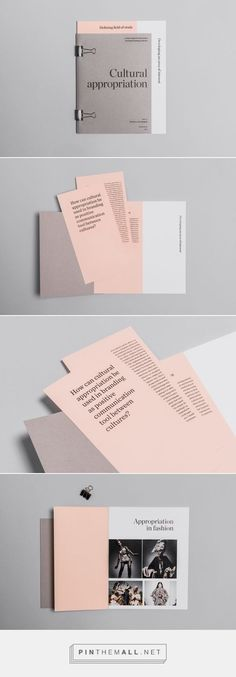 Cultural appropriation / Taste / Bore me on Behance. - a grouped images picture - Pin Them All --Creative Brochure Ideas & Templates Leaflet Layout, Leaflet Design, Brochure Layout, Brochure Ideas, Creative Brochure, Editorial Design, Editorial Layout, Layout Design, Print Layout
