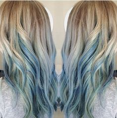 Medium, Long Layered Hairstyles for Thick Hair - Blue Ombre Hair