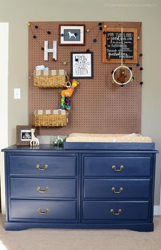 pegboard above changing table this would be adorable for a lil boys room!!!