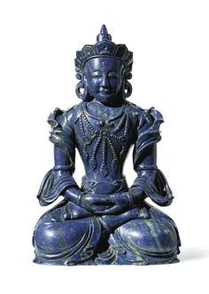 A LAPIS LAZULI FIGURE OF AMITAYUS CHINA, QING DYNASTY, QIANLONG PERIOD carved seated in dhyanasana with hands in dhyanamudra, wearing a dhoti and a long flowing scarf, the bare chest adorned with elaborate beaded necklace, the meditative face below an urna on the forehead, crowned with a pointed tiara Height 8 1/4  in., 21 cm Estimate 80,000 — 120,000 USD