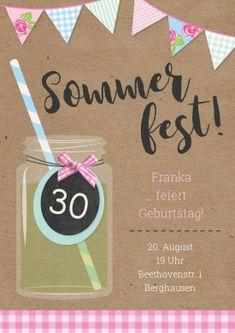 Tolle Einladungskarte zum Sommer-Geburtstag - romantisch, hip & trendy mit Lettering - für eine Gartenparty, Grillfest... #sommerfest #gartenfest #sommerparty #lettering #einladunggeburtstag