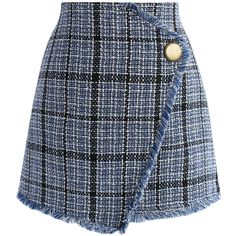 Chicwish Winsome Asymmetry Grid Tweed Flap Skirt in Navy (125.745 COP) ❤ liked on Polyvore featuring skirts, mini skirts, bottoms, saias, faldas, brown, short skirts, asymmetrical mini skirt, navy skirts and short mini skirts