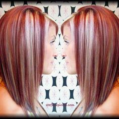 Love the cut… I would do blonde instead of red and trade the blonde with brown