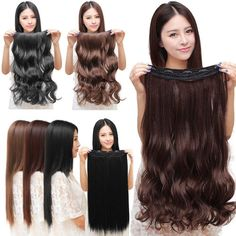 100% Natural Lady 3/4 Full Head Clip In Hair Extensions Curly Wavy Straight Hair #Unbranded #HairExtensions