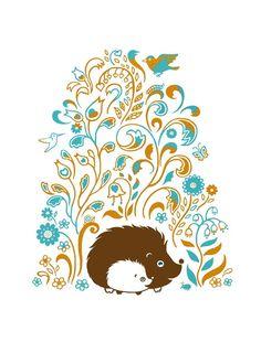 Hedgehog Spring Print Art Flowers Orange Aqua Woodland - sepialepus.etsy.com