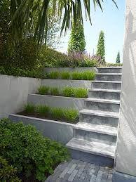 trap voortuin - idee: trap met daarnaast zulke dwarse bloembakken die ongelijk eindigen in de voortuin. Daarnaast een wilde plantenverzameling. Stuk muur naast de garagedeur moet dan natuurlijk ook helemaal weg.