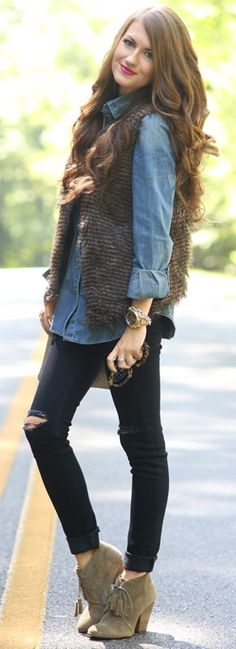 chambray top // faux fur vest // distressed black jeans // tassel booties // MK watch