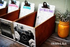 These are my greeting card holders I made out of old small wine boxes.