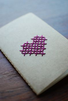 Embroidered Cross Stitch Heart Moleskine Notebook in Seafoa