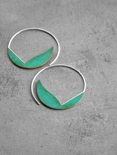 Verdigris Curvy Hoops - brass earrings sterling silver hoop earrings, bohemian earrings, turquoise earrings, blue green patina, made inItaly
