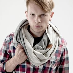 Perfect gift for brother. Mens Tube Scarves – Knitwear Tube Scarf Snood GREY MELANGE unisex – a unique product by CADOaccessories via en.DaWanda.com