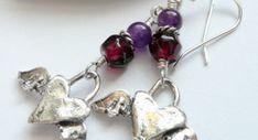 Artisan Sterling Silver Winged Hearts Amethyst Garnet Earrings
