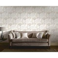 Bernwood Wallpaper - Cream at Homebase -- Be inspired and make your house a home. Buy now. Sofa, Couch, Home Art, Love Seat, Outdoor Living, New Homes, Home And Garden, Wall Decor, Throw Pillows