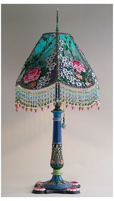 Nightshades - Antique Beaded Lamp and Shade #white #victorian #lampshades #whitevictorianlampshades Blue and white l Victorian Lampshade with beads and antique fabrics Victorian Lamps, Antique Lamps, Boho Lighting, Lighting Ideas, Diy Inspiration, Handmade Lamps, Lamp Light, Diy Light, Light Table