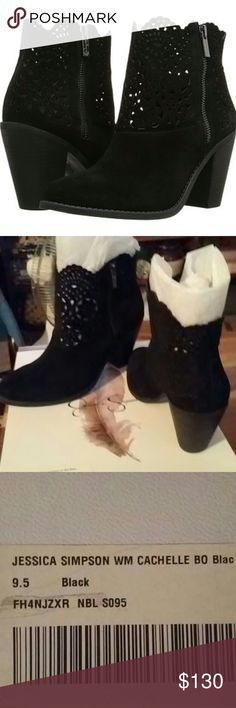 "💞Jessica Simpson WM CACHELLE BLACK BOOTS💞 These Are In EXCELLENT CONDITION! Worn Once!! 9.5 Medium. Leather Upper! Man Made Lining And Sole! A 5"" Side Zipper. 4""Heel!! Comes In Box! ~ The ONLY Flaw Is The Box Has Scruff Marks.( See Last Pic) The Box Itself Is A Little Dented From Being Stored.~❤ Selling For My Sister~ PRICE IS FIRM!!❤ These Are ABSOLUTELY Stunning!! Perfect For The Upcoming Holidays!!❤ Besides Being Beautiful~ These Have A Scallop Top Edging!!~ Split Suede~❤❤❤ Jessica…"