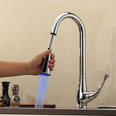 Contemporary Pull Down Kitchen Faucet with Color Changing LED Light TQ0760F