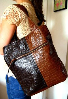 Vegan Tote Bag in Brown and Caramel 2 Toned Faux by PippiHepburn, $140.00