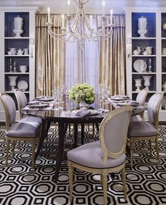 Opulent details and a graphic rug give this purple dining room feminine appeal - Traditional Home® / Design: Tom Stringer Lavender Room, Beautiful Dining Rooms, Dining Room Inspiration, Rug Inspiration, Elegant Dining, Dining Room Design, Dining Decor, Dining Area, Dining Chairs