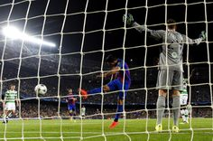 Luis Suarez of Barcelona celebrates scoring his sides sixth goal during the UEFA Champions League Group C match between FC Barcelona and Celtic FC at Camp Nou on September 13, 2016 in Barcelona, Catalonia.