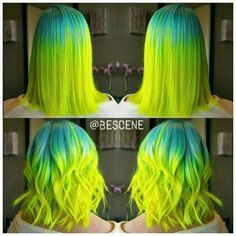 10 Neon Hair Color Ideas and What Products to Use Rave hair! Looking to dye your hair bright, vivid, amplified colors? You can get it with these dyes from Pravana, Manic Panic, and Joico. - Station Of Colored Hairs Neon Hair Color, Neon Colors, Bright Hair Colors, Colorful Hair, Rave Hair, Yellow Hair, Aqua Hair, Neon Yellow, Turquoise Hair