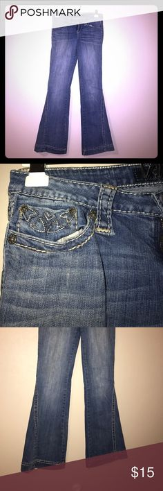 Jessica Simpson Jeans Gently used Jessica Simpson Jeans, with beaded detailing on back pockets. Detailed lines through the front legs. In great condition! Perfect for a night out! Jessica Simpson Jeans Flare & Wide Leg